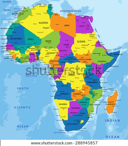 Colorful Africa Political Map Clearly Labeled Stock Vector 288945857
