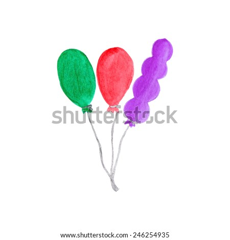 Colorful air baloons. Watercolor object on the white background, aquarelle. Vector illustration. Hand-drawn decorative element useful for invitations, scrapbooking, design. Birthday party - stock vector