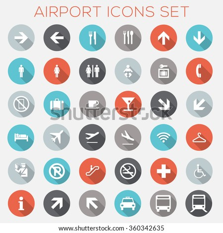 Colorful Airport Signage Icons Set - vector eps10 - stock vector