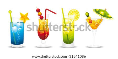 Cocktail Logo Vector Alcoholic Cocktails Vector