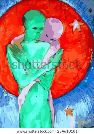 Colorful Aliens Hugging  - stock vector