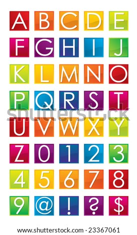 colorful alphabet and numbers