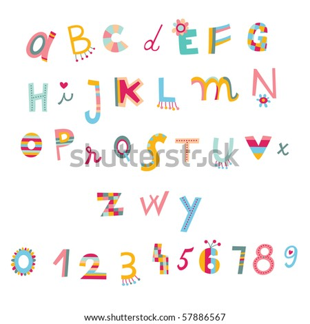 Colorful alphabet and numbers in whimsical style. - stock vector