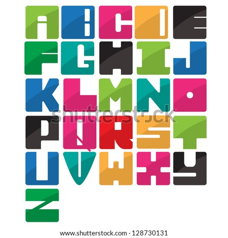 Colorful alphabet application style set - stock vector