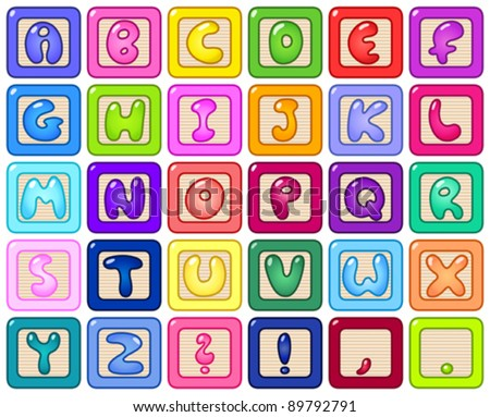 Colorful alphabet blocks - stock vector