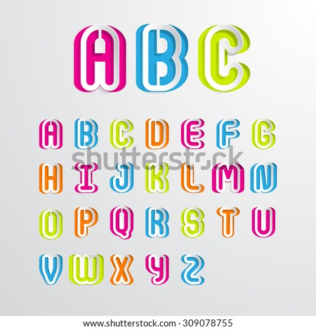 Colorful alphabet capital letters A,B,C,D,E,F,G,H,I,J,K,L,M,N,O,P,Q,R,S,T,U,V,W,X,Y,Z.Vector illustration - stock vector