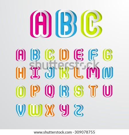 Colorful alphabet capital letters A,B,C,D,E,F,G,H,I,J,K,L,M,N,O,P,Q,R,S,T,U,V,W,X,Y,Z.Vector illustration - stock vector