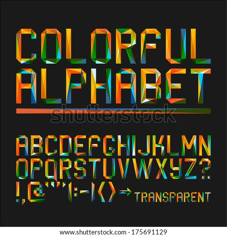 Colorful alphabet on a black background (10eps) - stock vector