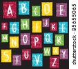 Colorful alphabet on textured background - stock vector