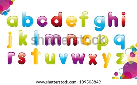 colorful alphabet over white background. vector illustration - stock vector