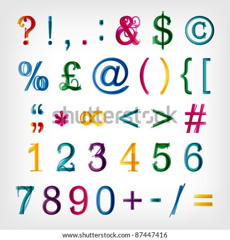 Colorful alphabet set. Vector. Capital and tiny letters available in my portfolio. - stock vector