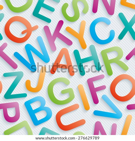 Colorful alphabet wallpaper. Seamless background with 3D effect. Vector EPS10. See others in My Perforated Paper Sets. - stock vector