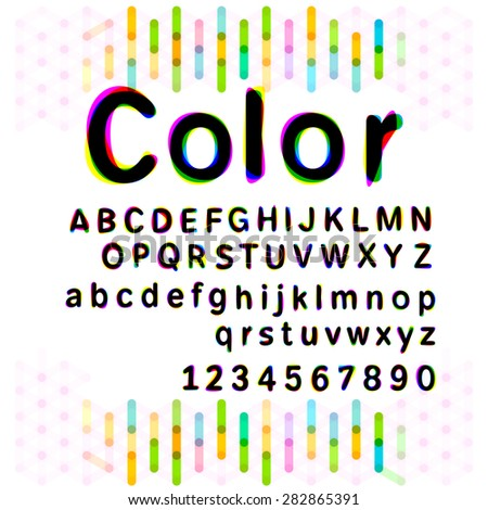 Colorful alphabetic fonts and numbers.Mix with three primary colors yellow blue and pink.vector illustration - stock vector