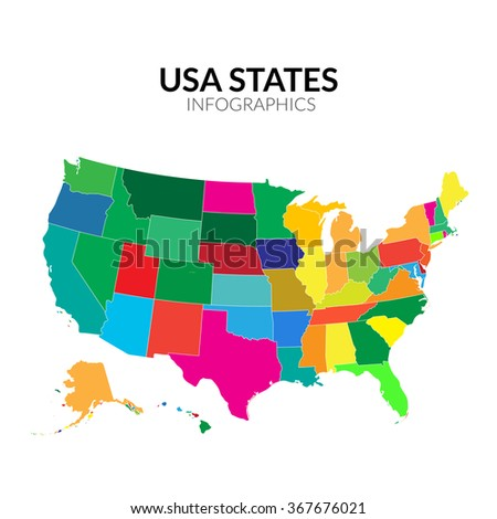 Colorful America USA map with states  vector illustration - stock vector