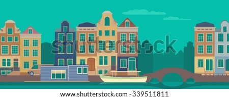 Colorful Amsterdam flat streets and channels vector illustration. - stock vector