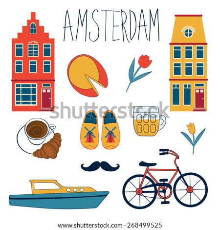 Colorful Amsterdam  related icons set. vector illustration