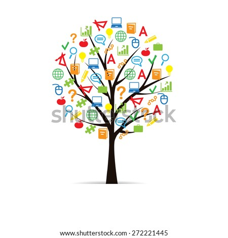 Colorful and abstract school tree with school elements - stock vector