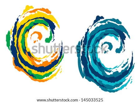 Colorful and blue waves in abstract style for outdoor and beach leisure concept design or idea of logo. Vector version also available in gallery - stock vector