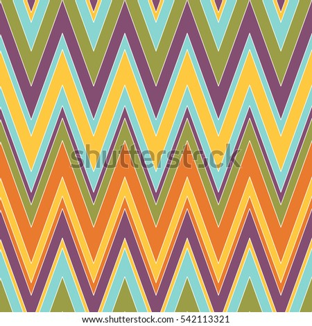 Colorful and bright chevron pattern. Seamless zig zag pattern in warm colors. Vector illustration for your graphic design.