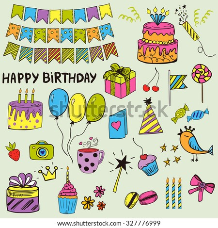 Colorful and bright doodle style birthday kit: cakes, elements, decor.