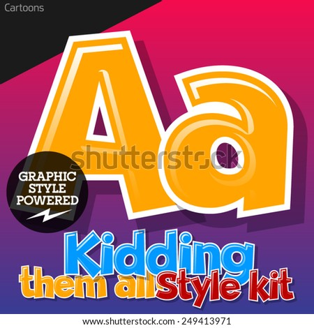 Colorful and cheerful cartoon font for children. Letter A. Also includes graphic styles - stock vector