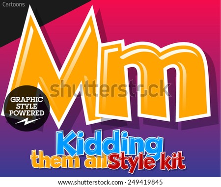 Colorful and cheerful cartoon font for children. Letter M. Also includes graphic styles - stock vector