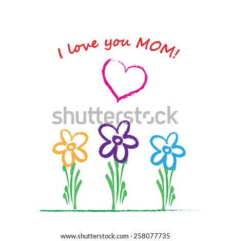 Colorful and cute card on mother day - stock vector