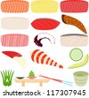 Colorful and Cute Food vector Icons collection as design elements, a set of Japanese Cuisine isolated on white background, Sushi and Sashimi, Fresh Raw Fish, salmon, shrimp, octopus, green tea, wasabi - stock vector
