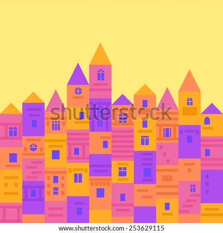Colorful and cute medieval town from building blocks, flat design vector illustration - stock vector