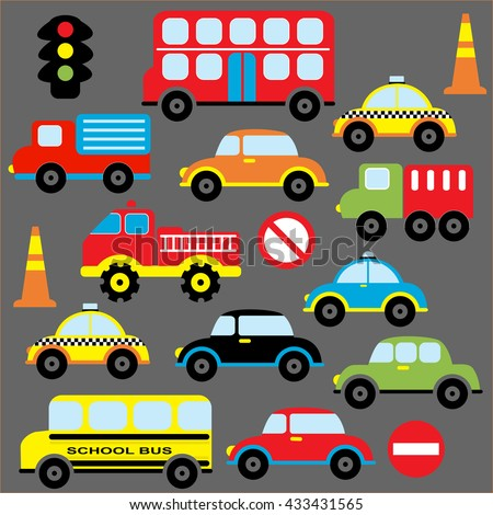 Colorful and cute transportation theme with car, vehicle, truck, taxi and bus