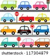 Colorful and Cute vector cartoon Icons collection as design elements, a set of Transportation theme - Car, van, Vehicle, truck, taxi, police car isolated on white background - stock vector
