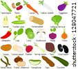 Colorful and Cute vector Icons collection, a set of Vegetable Representing Alphabet A to Z - Dictionary for Kids, Asparagus, beans, carrot, daikon, eggplant, fennel, garden peas, horseradish, etc - stock vector