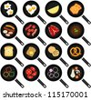 Colorful and Cute vector Icons collection as design elements, A set breakfast Ingredients, fried food in Non stick Frying Pans, Skillets isolated on white background background, fried egg, omelet, etc - stock vector