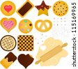 Colorful and Cute vector Icons collection as design elements, A set homemade Cookies and Biscuit with chocolate, jam, other toppings plus a Dough with wooden rolling pin isolated on white background - stock vector
