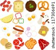 Colorful and Cute vector Icons collection as design elements, A set of Breakfast and Lunch Ingredients - bacon, bread, cheese, omelet, fried egg, mushroom, sausage, toast, pancake, baked beans, tomato - stock vector