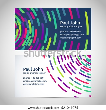 Colorful and elegant business card pairs, vector illustration