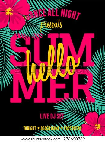 "Colorful and exotic summer party/music festival flyer design. Bright pink hibiscus flowers and green palm leaves on black background. Scalable to a standard 8,5"" x 11"" size. - stock vector"
