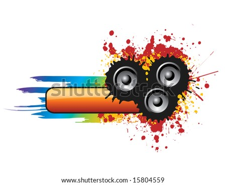 Colorful and Grungy Music Banner - stock vector