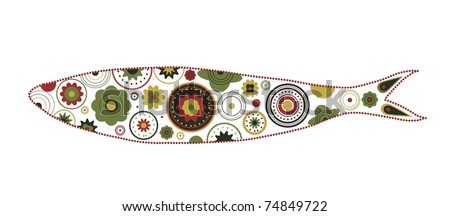 Colorful and ornamented sardine illustration - stock vector