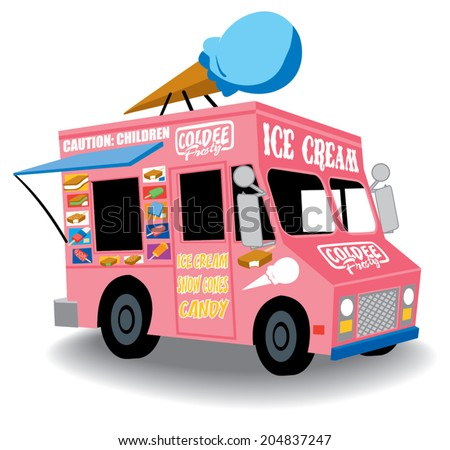 Colorful And Playful Ice Cream Truck With Cone On Top