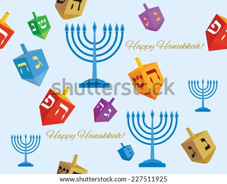 colorful and seamless Hanukkah background of Hanukkah menorah with candles and dreidels, with the words 'happy Hanukkah' - Vector illustration  - stock vector