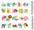 Colorful animal abc alphabet series poster kids illustration poster design in vector - stock vector