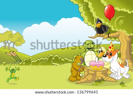 Colorful animal pals at a birthday party. - stock vector