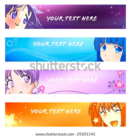 Colorful anime banner or sider backgrounds. Base banner size is 120x600. - stock vector