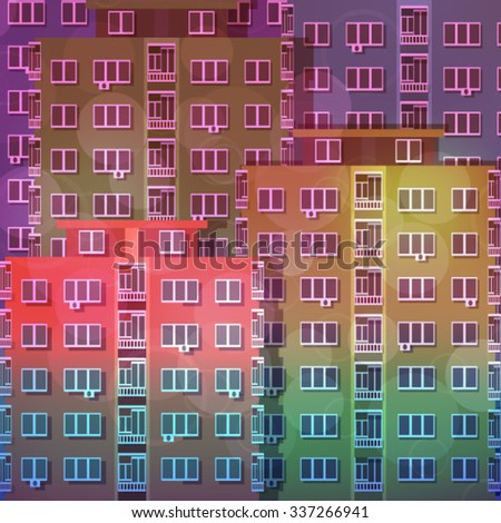 Colorful Apartment Block of Flats Background