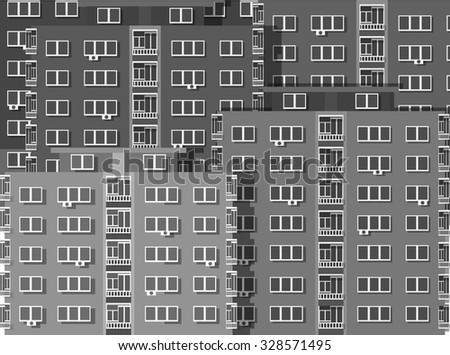 Colorful Apartment Block of Flats Background Greyscale - stock vector