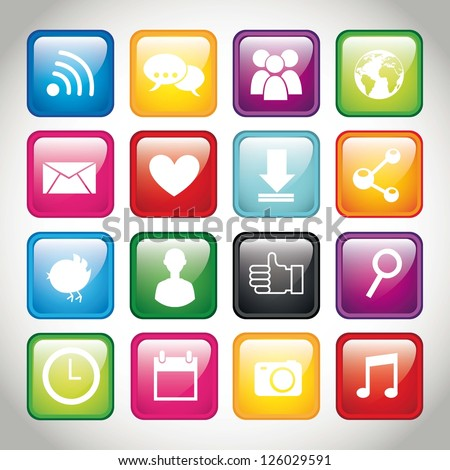 colorful app buttons over gray background. vector illustration - stock vector