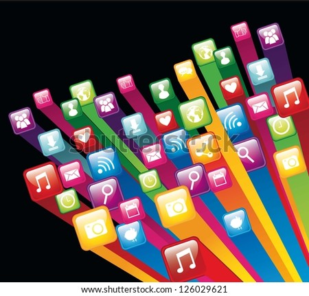 colorful app store over black background. vector illustration
