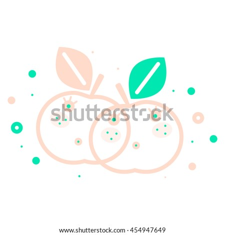 Colorful apple illustration, vector. Modern creative food design. Bright decorative illustration. Stylish food and drink vector. Cute, tasty apples. Healthy lifestyle, vegan, vegetarian, fruit diet. - stock vector
