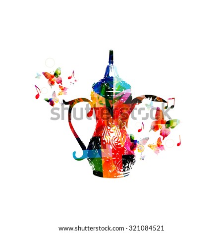 Colorful Arabic coffee pot design